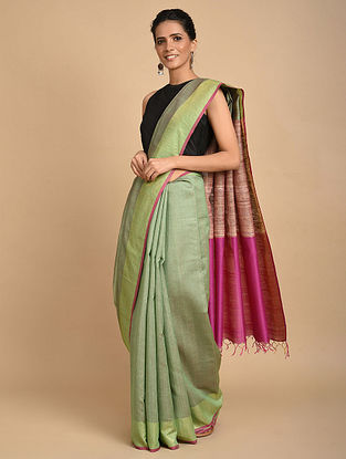 Green-Pink Handwoven Ghicha Silk Saree