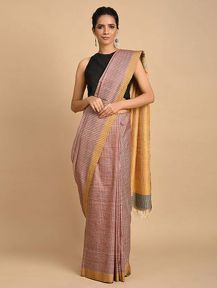 Red-Yellow Handwoven Silk Saree