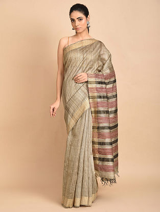 Beige Handwoven Ghicha Silk Saree