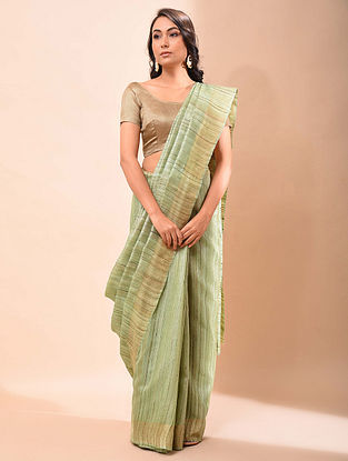 Green Handwoven Tussar Silk Saree
