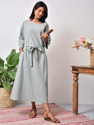 Olive Green Striped Cotton Maxi