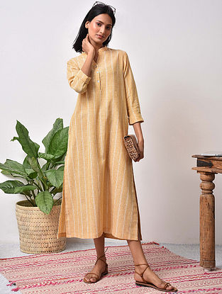 Mustard Striped Cotton Maxi