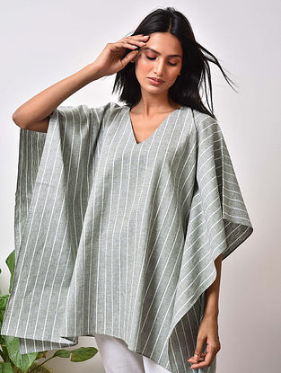 Olive Green Striped Cotton Kaftan Top