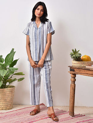 Blue striped Cotton Top with Pants