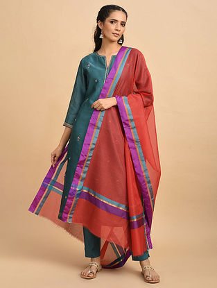Red-Purple Handwoven Poly Silk Cotton Dupatta