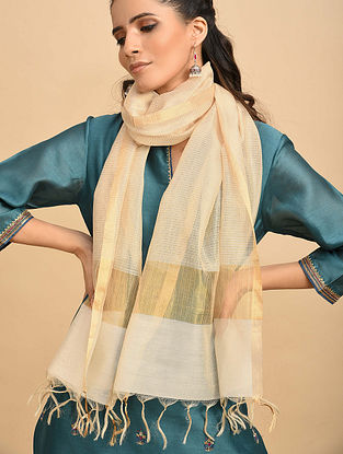 White-Beige Handwoven Silk Cotton Dupatta
