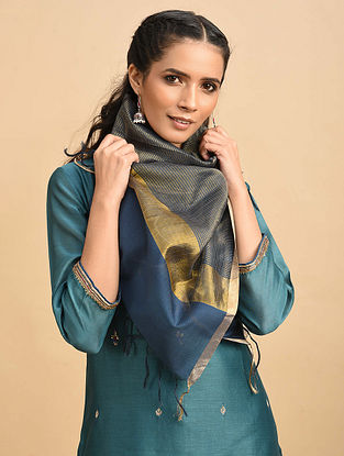 Blue Handwoven Silk Cotton Dupatta