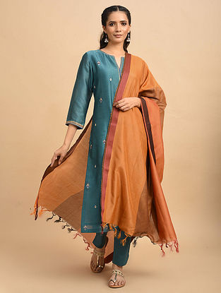 Orange Handwoven Silk Cotton Dupatta