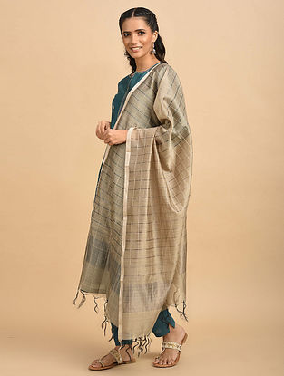 Ivory Silk Handwoven Silk Cotton Dupatta
