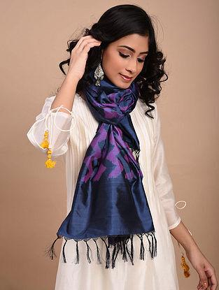Blue-Purple Handwoven Ikat Silk Stole