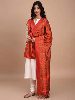Orange Handwoven Ikat Silk Dupatta