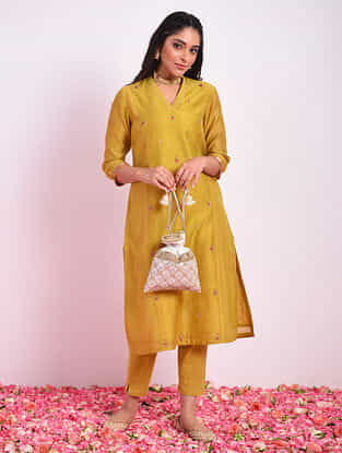 BADSHAHI - Ochre Hand Embroidered Silk Cotton Kurta With Pants