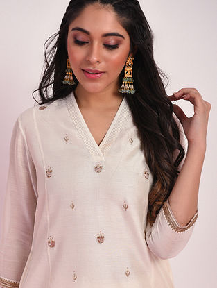 SULTANI - Off White Hand Embroidered Silk Cotton Kurta With Pants
