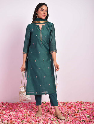 KHUSRAWI - Teal Hand Embroidered Silk Cotton Kurta With Pants