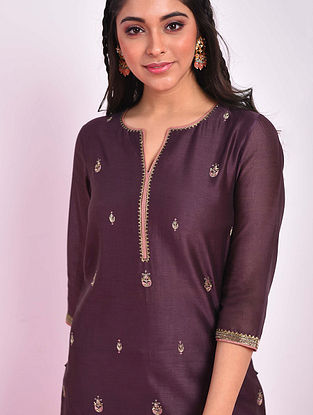 MALKA - Wine Hand Embroidered Silk Cotton Kurta With Pants