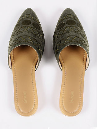 Olive Green Handcrafted Suede Leather Mules