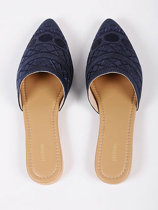 Navy Blue Handcrafted Suede Leather Mules