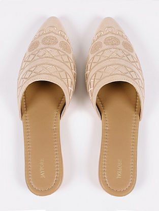 Beige Handcrafted Suede Leather Mules