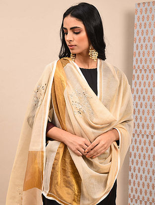 Gold Silk Cotton Dupatta with Mukaish Work