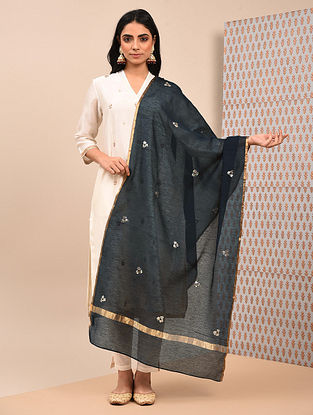Black Silk Cotton Dupatta with Mukaish Work