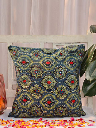 Multicolored Handcrafted Ajrakh Cushion Cover (16in X 16in)