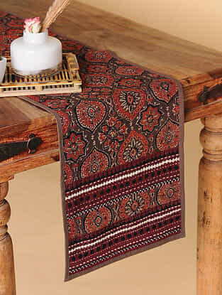 Multicolored Handcrafted Ajrakh Table Runner (69in X 13in)