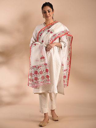 Ivory-Red Block Printed Chanderi Dupatta