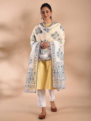 Ivory-Blue Block Printed Chanderi Dupatta