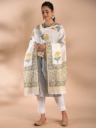 Ivory-Yellow Block Printed Chanderi Dupatta