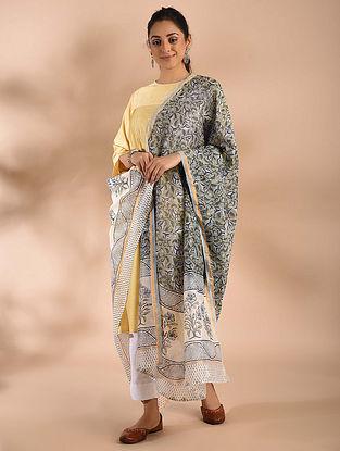 Ivory-Grey Block Printed Chanderi Dupatta