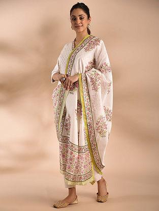 Ivory-Pink Block Printed Chanderi Dupatta