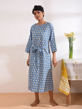 Blue Block Printed Cotton Maxi