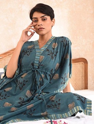 Blue Natural Dyed Dabu Printed Cotton Maxi