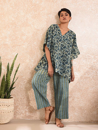 Blue Natural Dyed Dabu Printed Cotton Kaftan Top with Pants