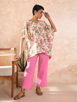 Pink Block Printed Cotton Kaftan Top with Pants
