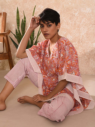 Pink Block Printed Cotton Kaftan Top