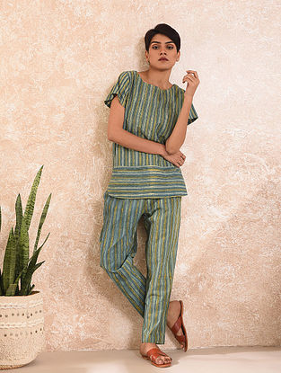 Blue Natural Dyed Dabu Printed Cotton Top with Pants