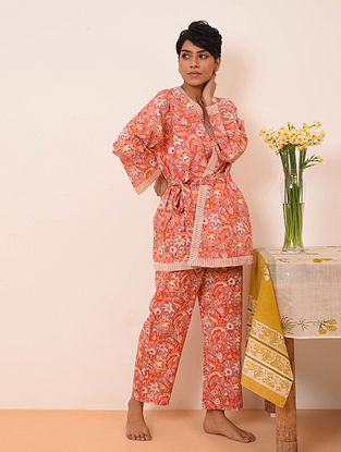 Pink Block Printed Cotton Top with Pants and Cape