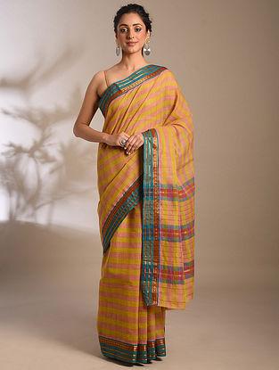 Mustard-Blue Handwoven Narayanpet Cotton Saree