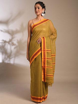 Green-Red Handwoven Narayanpet Cotton Saree