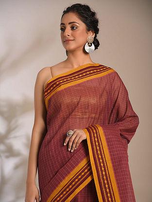 Purple-Mustard Handwoven Narayanpet Cotton Saree