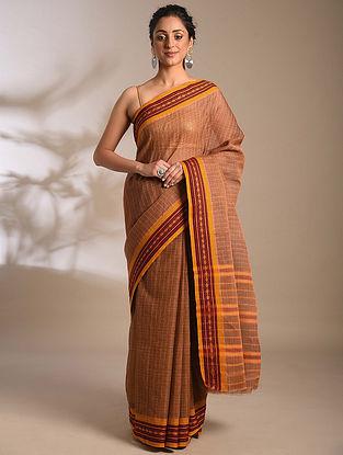 Brown-Mustard Handwoven Narayanpet Cotton Saree