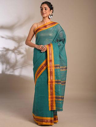 Blue-Mustard Handwoven Narayanpet Cotton Saree