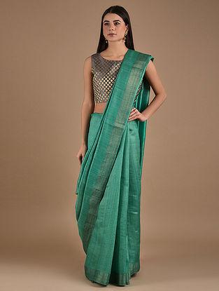 Green Handwoven Tussar Silk Saree