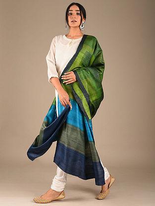 Green-Blue Block Printed Tussar Silk Dupatta