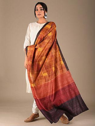 Red-Yellow Block Printed Tussar Silk Dupatta