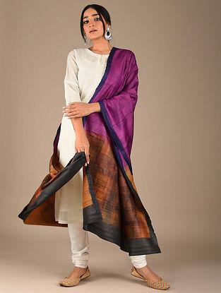 Purple-Orange Block Printed Tussar Silk Dupatta