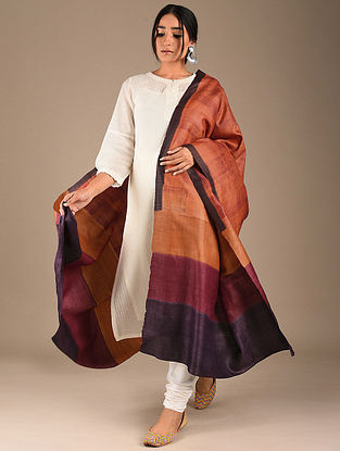 Orange-Blue Block Printed Tussar Silk Dupatta