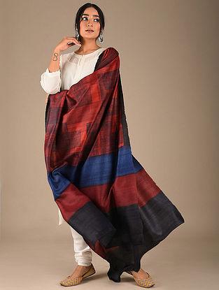 Red-Blue Block Printed Tussar Silk Dupatta