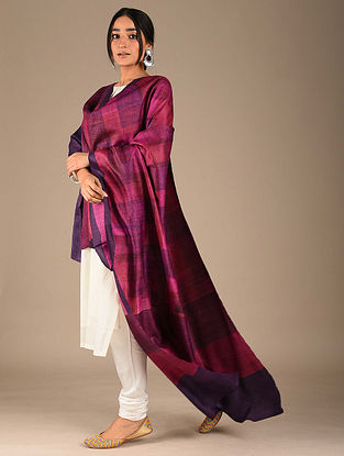 Purple-Blue Block Printed Tussar Silk Dupatta